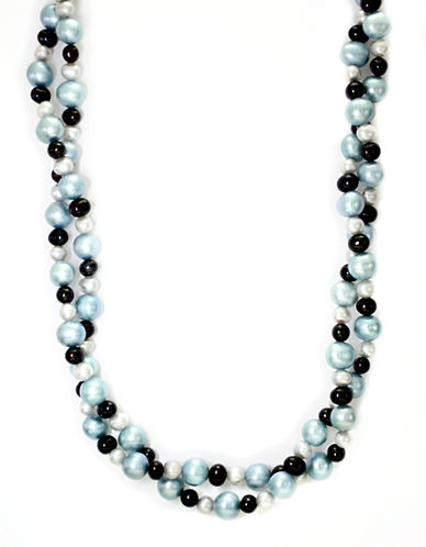 Effy Sterling Silver Blue and Black Pearl Necklace