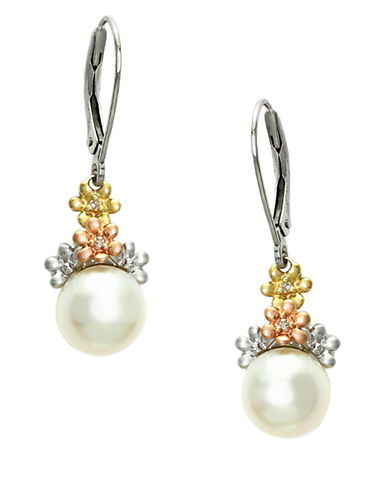 EFFY14Kt. White Yellow and Rose Gold Drop Earrings with Freshwater Pearl and Diamond Accents