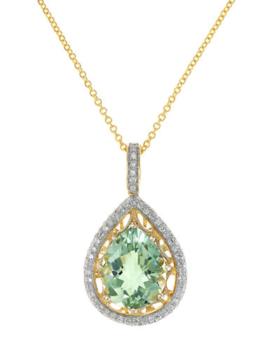 EFFY14K Yellow Gold Green Amethyst and Diamond Pendant