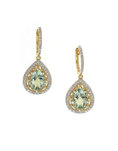 EFFY14K Yellow Gold Green Amethyst and Diamond Drop Earrings