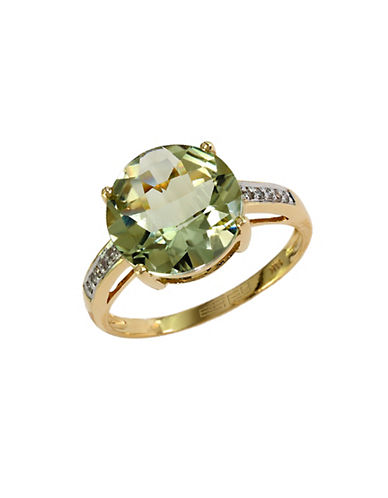 EFFY14Kt. Gold Green Amethyst Ring with Diamond Accents