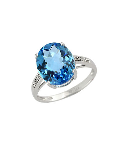 EFFY14Kt. White Gold and Blue Topaz Ring with Diamonds