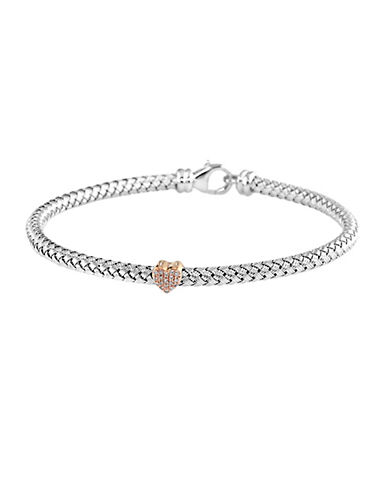 EFFY Balissima Sterling Silver and Rose Gold Heart Tennis Bracelet with Diamond Accents