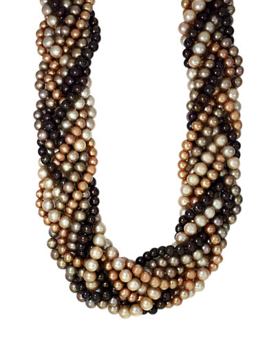 EFFYSterling Silver Brown Multi-Colored Pearl Braided Necklace