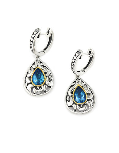 EFFY Blue Topaz Drop Earrings in Sterling Silver with 18 Kt. Yellow Gold