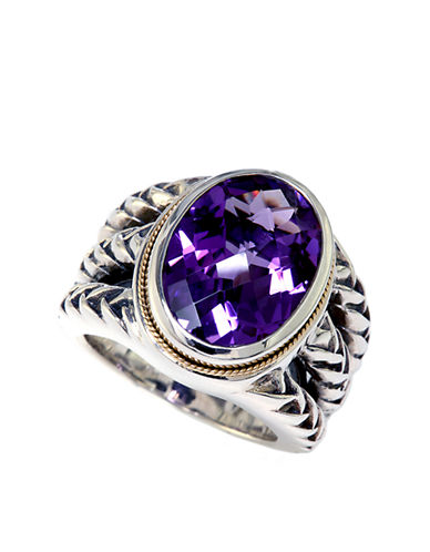 EFFY Sterling Silver 18Kt. Yellow Gold and Amethyst Ring