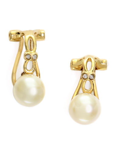 EFFY 14Kt. Yellow Gold Freshwater Pearl Earrings with Diamonds