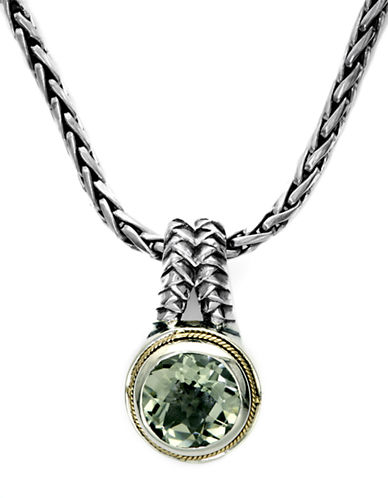 EFFY Balissima Sterling Silver & 18Kt. Yellow Gold Green Amethyst Pendant Necklace