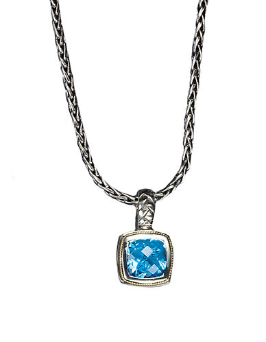 EFFYBalissima Sterling Silver and 18K Yellow Gold Blue Topaz Pendant Necklace