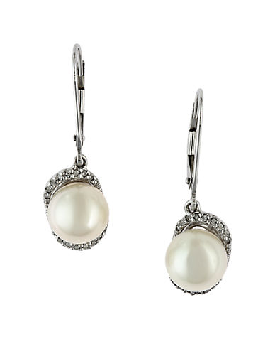 EFFY 14 Kt. White Gold Freshwater Pearl & Diamond Drop Earrings