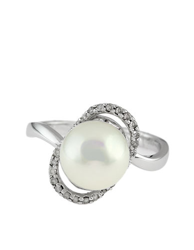 EFFY 14 Kt White Gold Frshwater Pearl and Diamond Ring