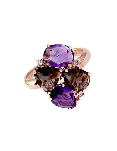 EFFYLavender Rosé 14 Kt. Rose Gold Amethyst & Smoky Quartz Diamond Ring