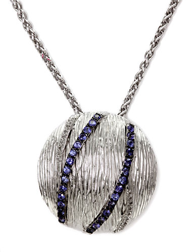 EFFY Sterling Silver Sapphire Circle Pendant Necklace with Diamonds