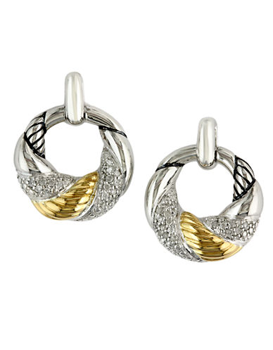 EFFY Balissima Sterling Silver and 18 Kt. Yellow Gold Textured Diamond Hoop Earrings