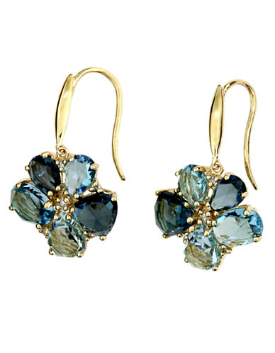 14 Kt. Yellow Gold Topaz & Diamond Flower Earrings