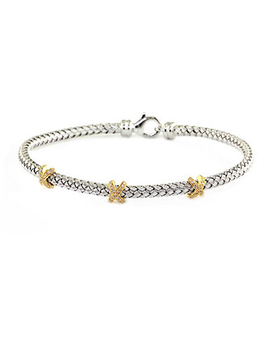 Sterling Silver Tennis Bracelet with 14Kt. Yellow Gold & Diamond Accents
