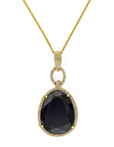 EFFY14K Yellow Gold Onyx and Diamond Pendant