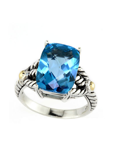 EFFY Sterling Silver and 18 Kt. Yellow Gold Blue Topaz Ring