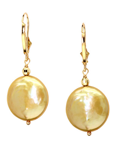 EFFY14Kt. Yellow Gold Freshwater Pearl Coin Earrings