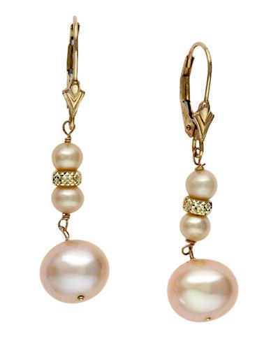 EFFY14 Kt. Yellow Gold Freshwater Peach Pearl Drop Earrings