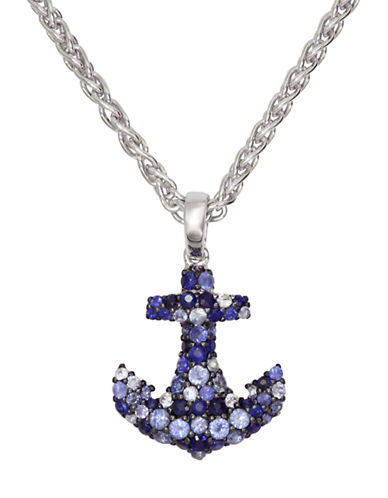 EFFYBalissima Sterling Silver Necklace with Multi-Colored Sapphire Anchor Pendant