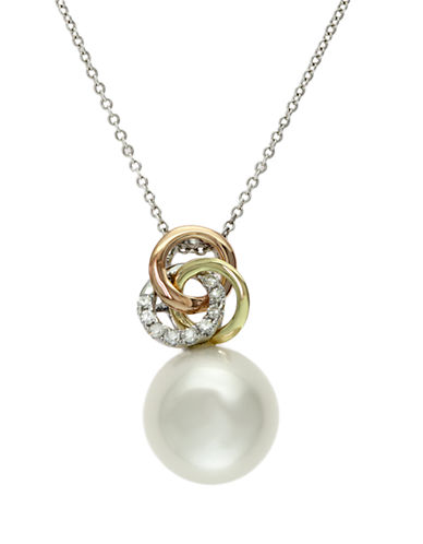 EFFY 14 Kt. Tri Gold Freshwater Pearl and Diamond Pendant Necklace