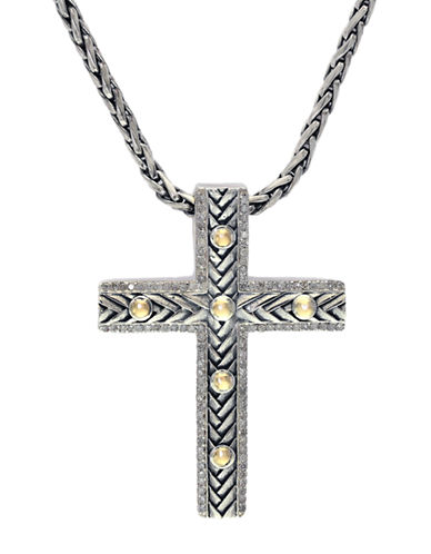 EFFY Balissima Sterling Silver & 18Kt. Yellow Gold Cross Pendant Necklace with Diamonds