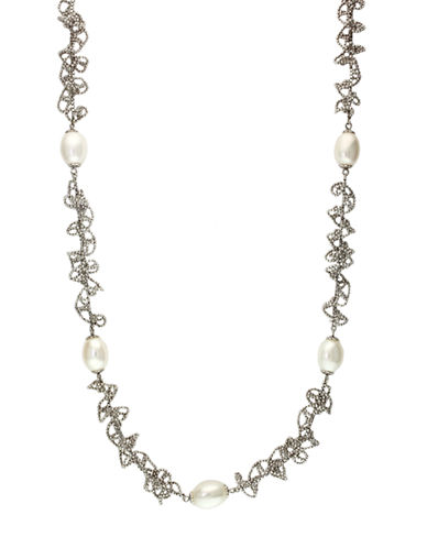 EFFY Pearl Lace Sterling Silver and Freshwater Pearl Textured Necklace