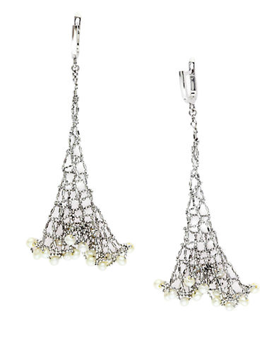 EFFY Pearl Lace Sterling Silver and Freshwater Pearl Mesh Drop Earrings