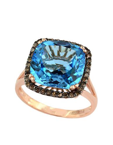EFFYBleu Rose 14Kt. Rose Gold Blue Topaz and Brown Diamond Ring