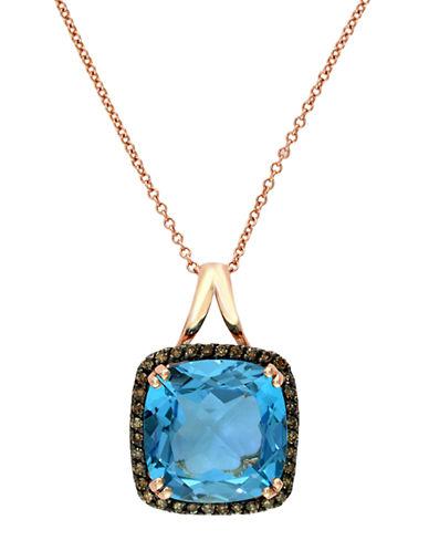 EFFYBleu Rose 14Kt. Rose Gold Blue Topaz and Brown Diamond Pendant Necklace
