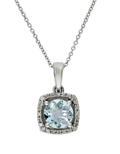 EFFYAquarius 14K White Gold Aquamarine and Diamond Pendant