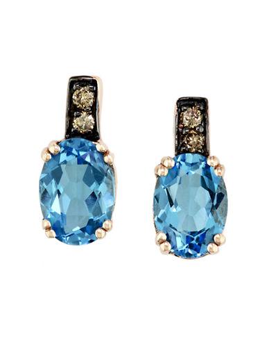 EFFYBleu Rosé 14 Kt. Rose Gold Blue Topaz & Diamond Earrings