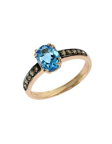 EFFYBleu Rose 14 Kt. Rose Gold Blue Topaz and Diamond Ring
