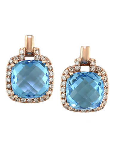EFFYBleu Rosé 14Kt. Rose Gold Blue Topaz & Diamond Earrings