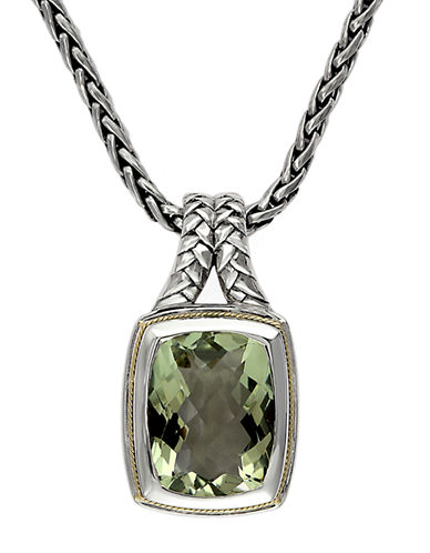 EFFY Balissima Sterling Silver Necklace with 18 Kt. Yellow Gold & Green Amethyst Pendant