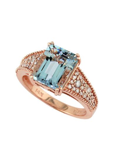 EFFYAquarius 14 Kt. Rose Gold and Aqua Ring with Diamond Embellishments