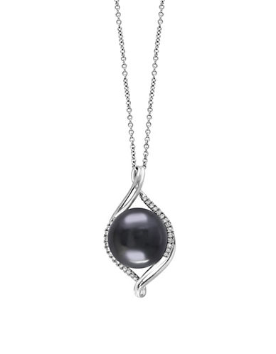 EFFY925 Sterling Silver, Diamond and Black Cultured Tahitian Pearl Necklace