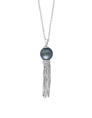 EFFY925 Sterling Silver, Diamond and Black Cultured Tahitian Pearl Fringe Necklace