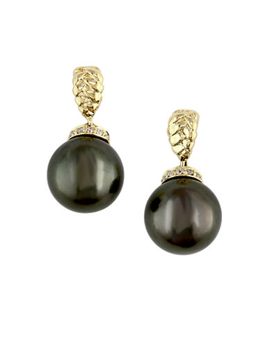 EFFY 14 Kt. Yellow Gold Black Tahitian Pearl & Diamond Earrings