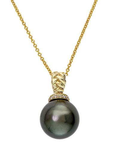 EFFY14K Yellow Gold Black Tahitian Pearl and Diamond Pendant Necklace