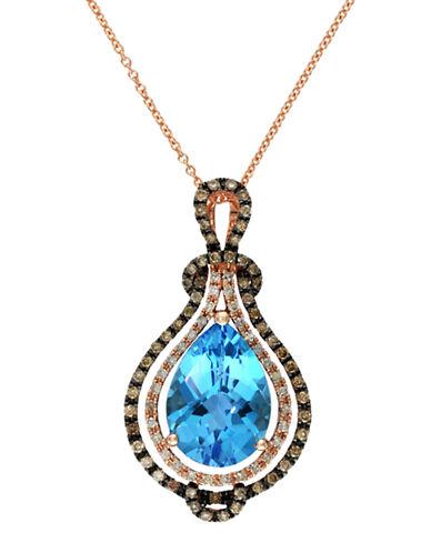 EFFYLavender Rose 14Kt. Rose Gold Brown Diamond and Blue Topaz Pendant Necklace