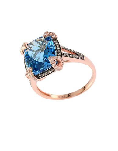 EFFYBleu Rose 14 Kt. Rose Gold Topaz and Diamond Ring