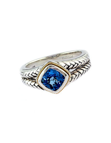EFFYBalissima Sterling Silver and 18Kt. Yellow Gold Blue Topaz Ring
