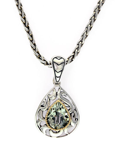 EFFY Balissima Sterling Silver, 18Kt. Yellow Gold & Green Amethyst Pendant Necklace