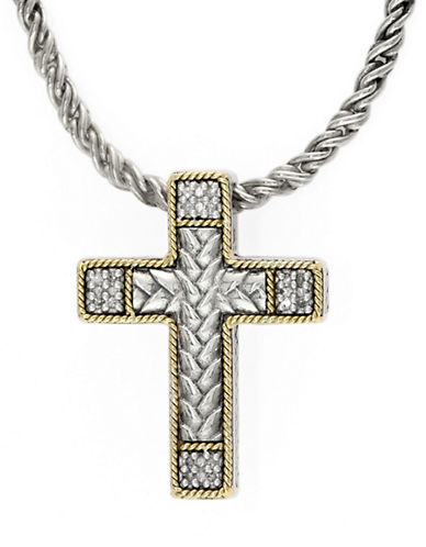 EFFYBalissima Sterling Silver Necklace with 18 Kt. Gold and Diamond Cross Pendant