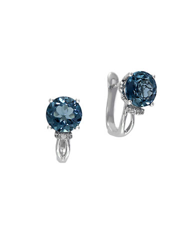 EFFY 14Kt. White Gold and London Blue Topaz Earrings with Diamond Accent