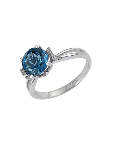 EFFYLondon Blue Topaz Ring with Diamond Accent