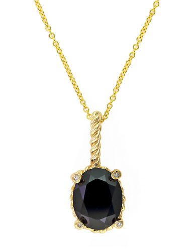 EFFY14Kt Yellow Gold and Onyx Pendant Necklace with Diamond Accents