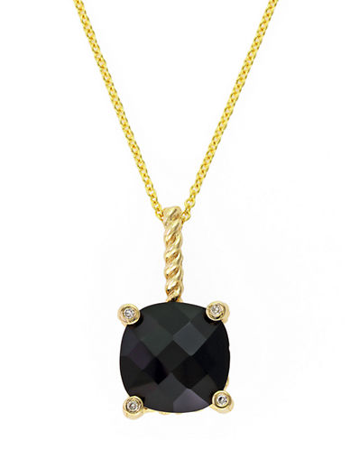 EFFY14K Yellow Gold and Onyx Pendant Necklace with Diamond Accents